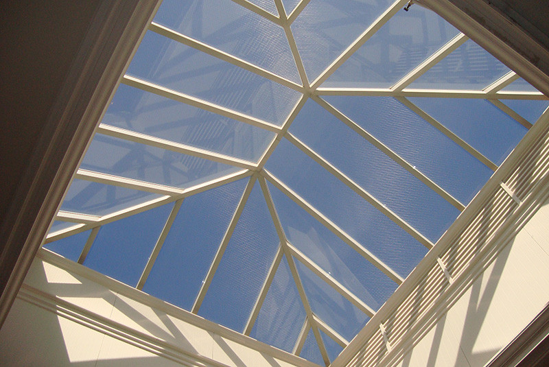 Commercial exterior polygonal pyramid skylights are affordable under tight construction budgets.